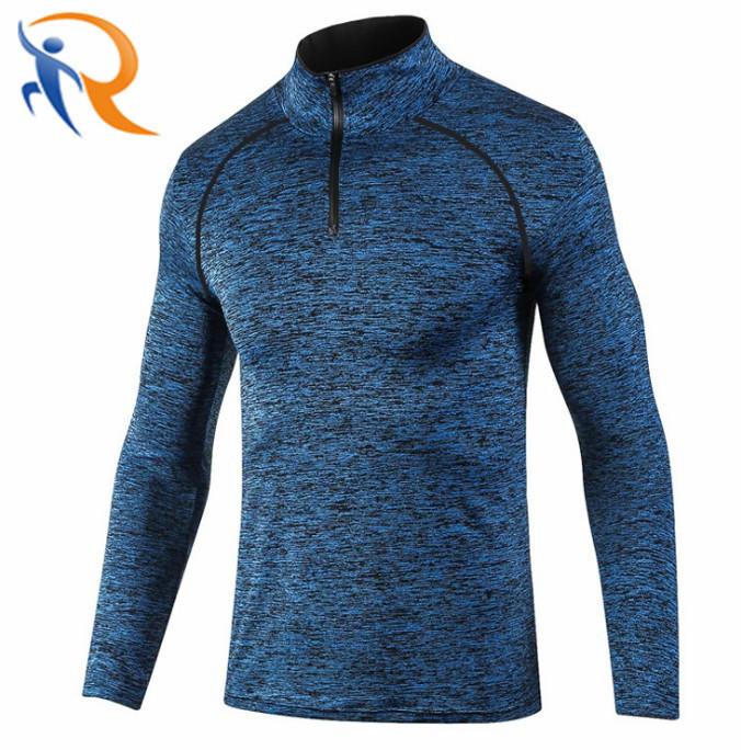 Wholesale Mens Cheap Blank Sports 100%Polyester Heather Quarter Zip Top Racing T Shirt