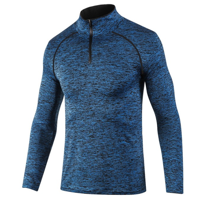 product-Ruiteng-Wholesale Mens Cheap Blank Sports 100Polyester Heather Quarter Zip Top Racing T Shir