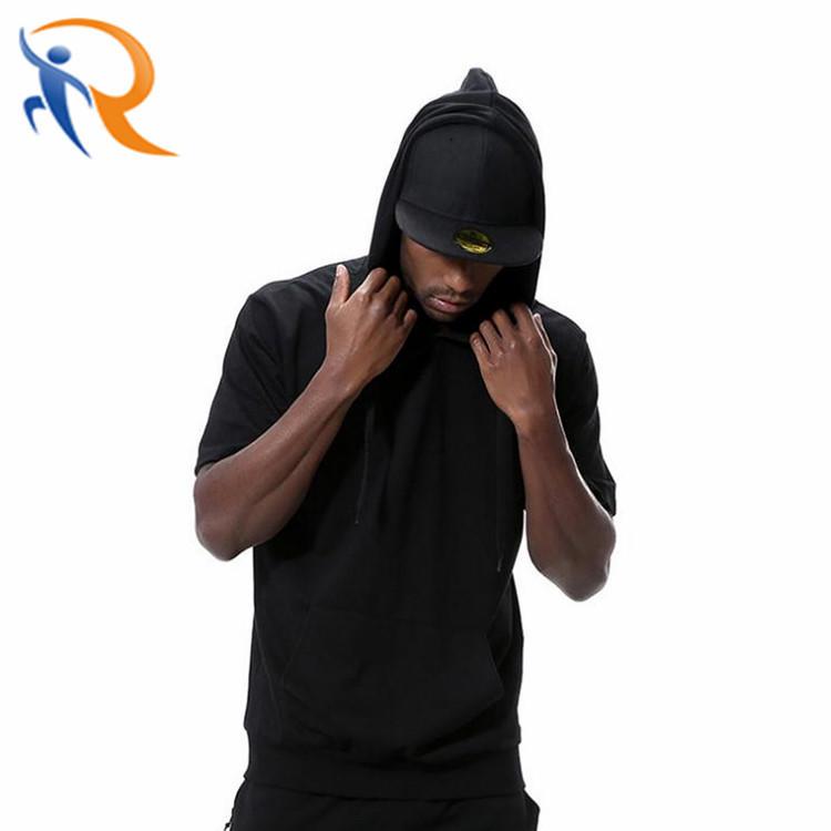 Men Hip Hop Street Style Hoodies Custom Blank Short Sleeve Hoodie