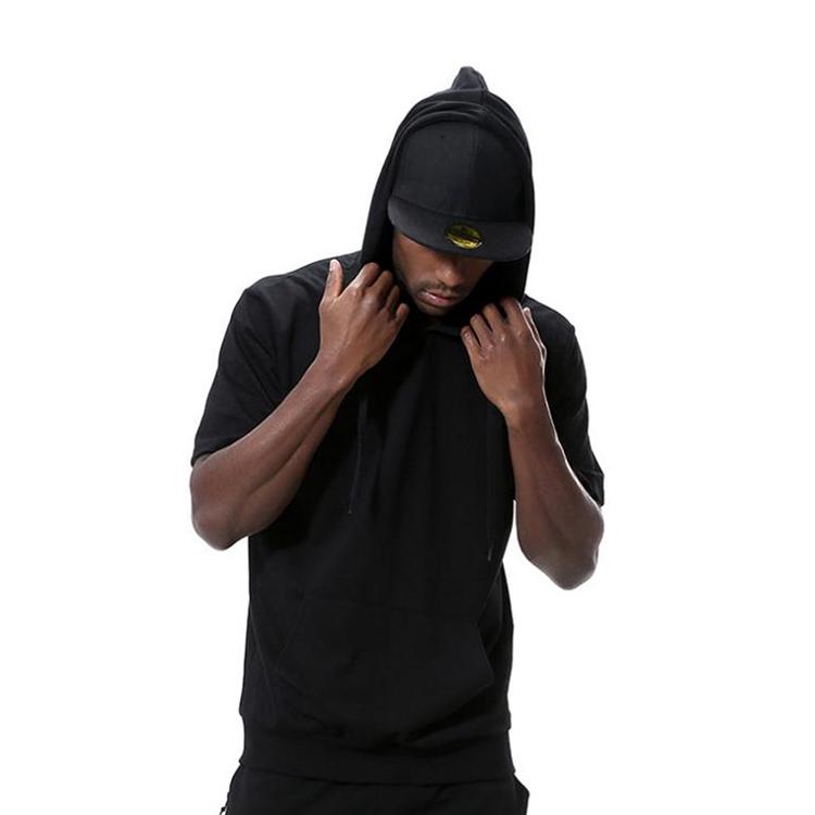product-Men Hip Hop Street Style Hoodies Custom Blank Short Sleeve Hoodie-Ruiteng-img