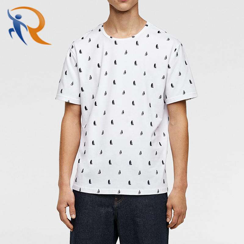 High Quality 100% Cotton Short Sleeve Tee Shirt Round Neck All Over Printing Partysu Men T-Shirt