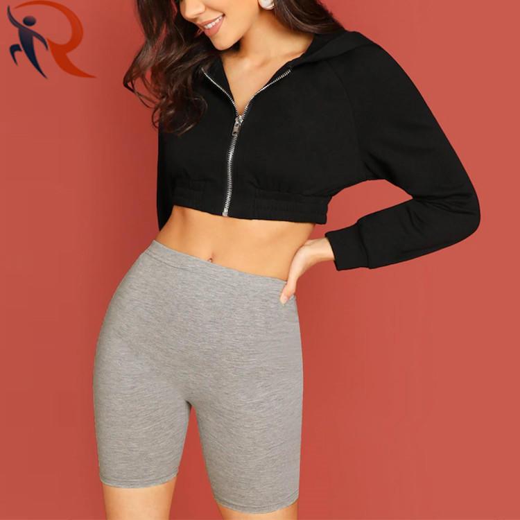 Top Quality Super Soft Biker Shorts Women Pure Grey Cotton Gym Shorts Women