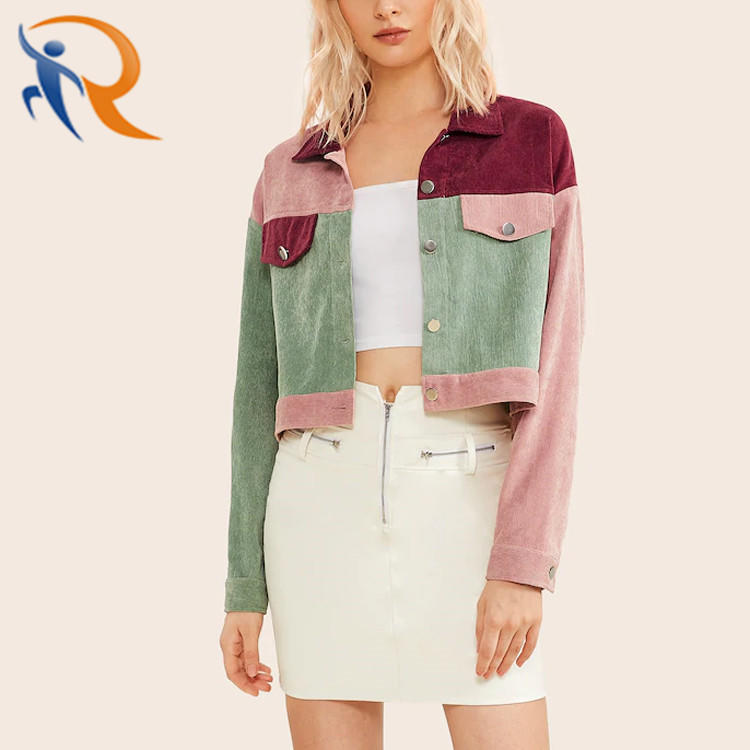 Fall Unique Custom Design 100% Polyester Women Long Sleeve Colorblock Button Front Jacket