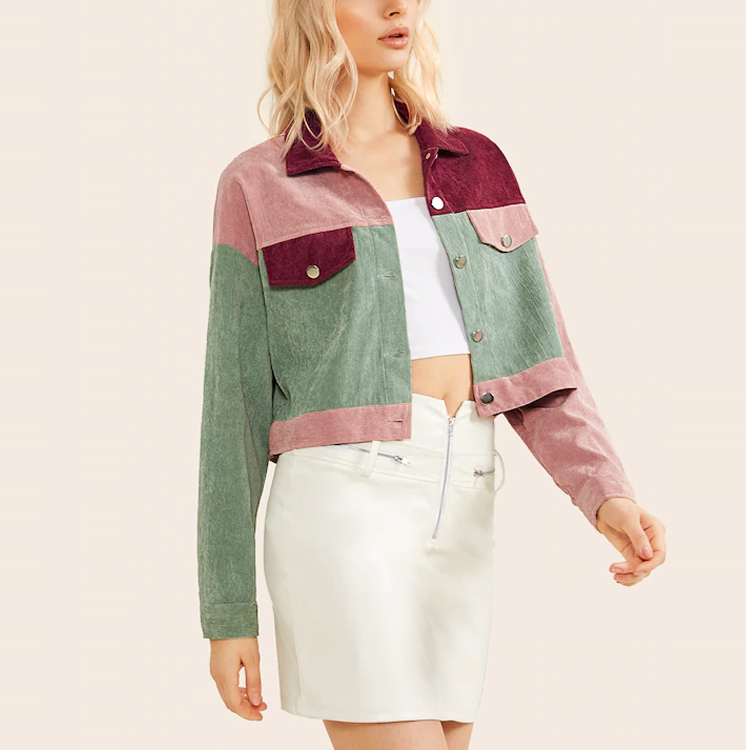 product-Fall Unique Custom Design 100 Polyester Women Long Sleeve Colorblock Button Front Jacket-Rui