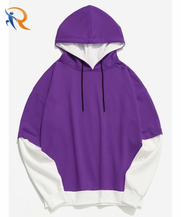 Color Block Casual False Two Piece Men Hoodie - Purple