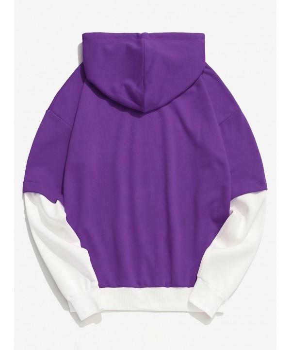 product-Ruiteng-Color Block Casual False Two Piece Men Hoodie - Purple-img