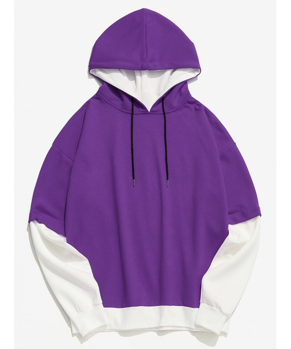 product-Color Block Casual False Two Piece Men Hoodie - Purple-Ruiteng-img