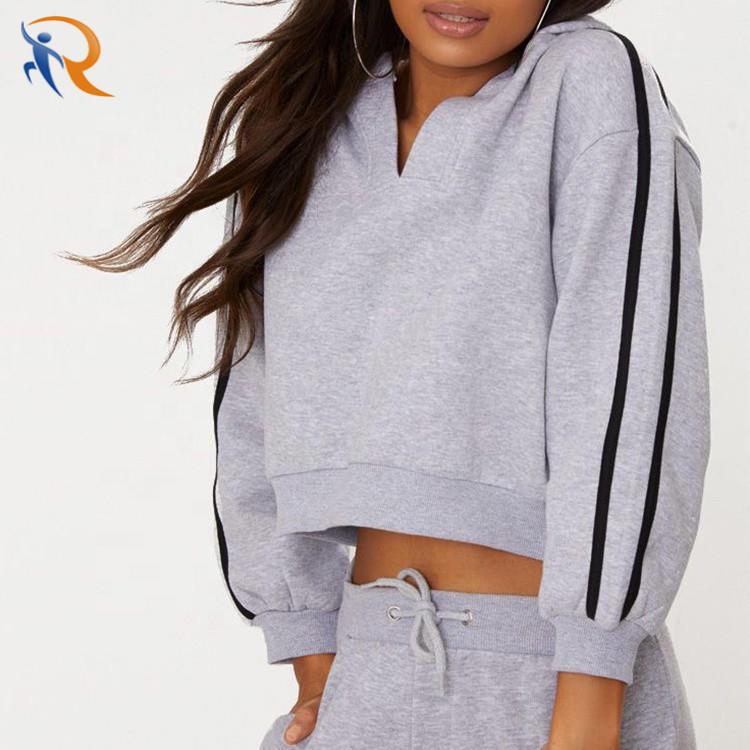 2020 New High Quality Women Hoodies Grey Marl Crop Sport Stripe Hoodie