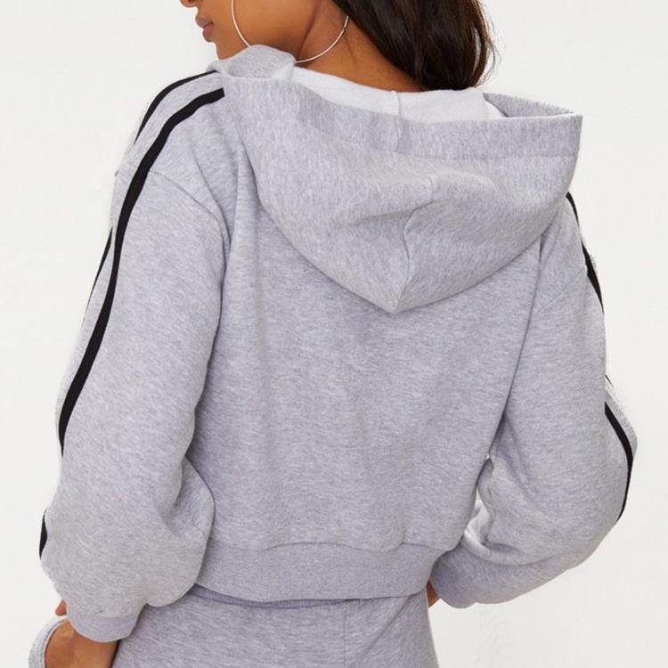 product-2020 New High Quality Women Hoodies Grey Marl Crop Sport Stripe Hoodie-Ruiteng-img