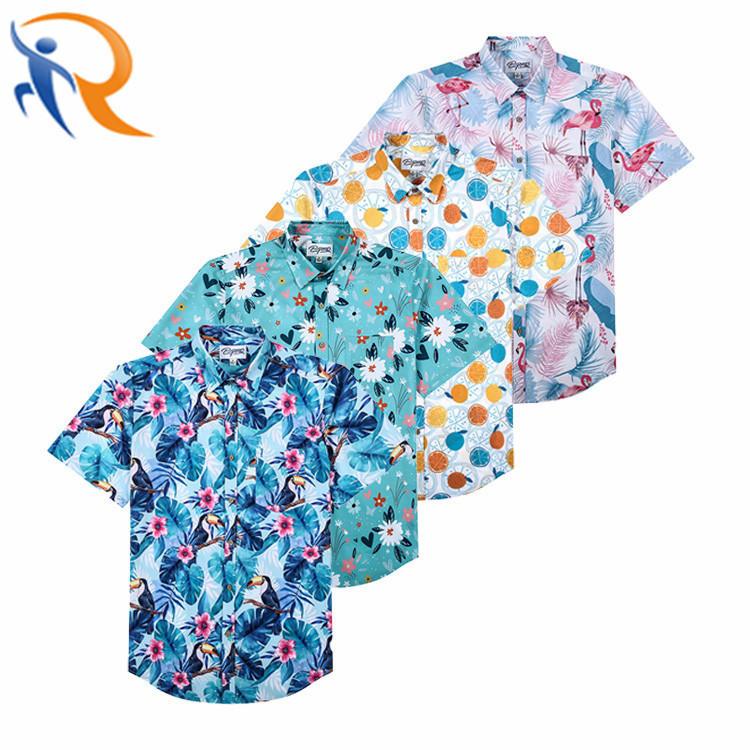 Digital Print Hawaiian Man Shirt Custom Printed Casual Button Down Pineapple Shirts for Men