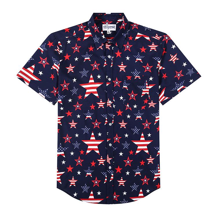 product-Digital Print Hawaiian Man Shirt Custom Printed Casual Button Down Pineapple Shirts for Men-