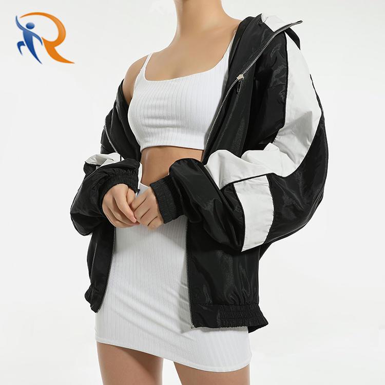 2021 Spring Workout Fashion Zipper Hoodie Windbreaker Black Cropped Women's Jackets Coats