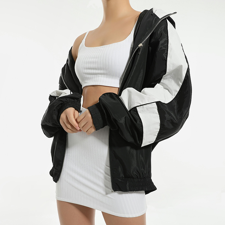 product-Ruiteng-2021 Spring Workout Fashion Zipper Hoodie Windbreaker Black Cropped Womens Jackets C