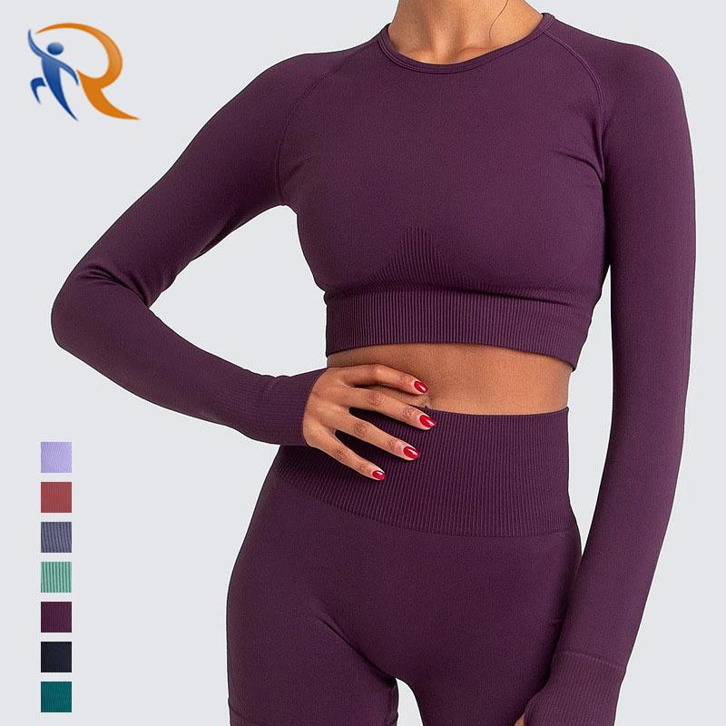 2021 Woman Crop Top long sleeve Ribbed Set High Quality Long Leggings Seamless Yoga Suit