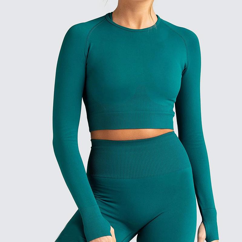 product-Ruiteng-2021 Woman Crop Top long sleeve Ribbed Set High Quality Long Leggings Seamless Yoga