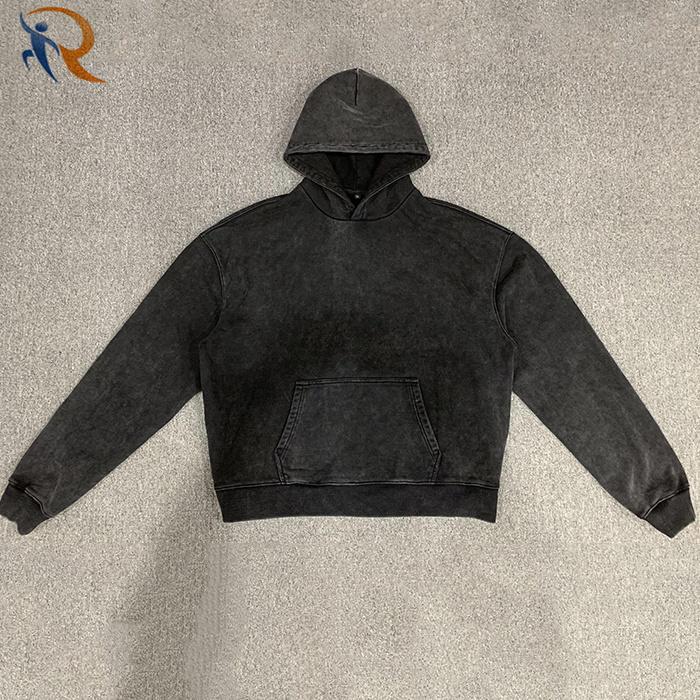 Wholesale Custom Logo Mens Hoodie Pullovers 100% Cotton Plain Hoodie Men Vintage Style Heavyweight Oversized Hoodie