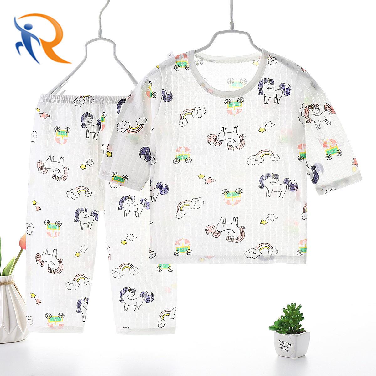 2021 Fashion New Summer Children′s Air Conditioning Pajamas Set Thin Cartoon baby Cotton Homewear
