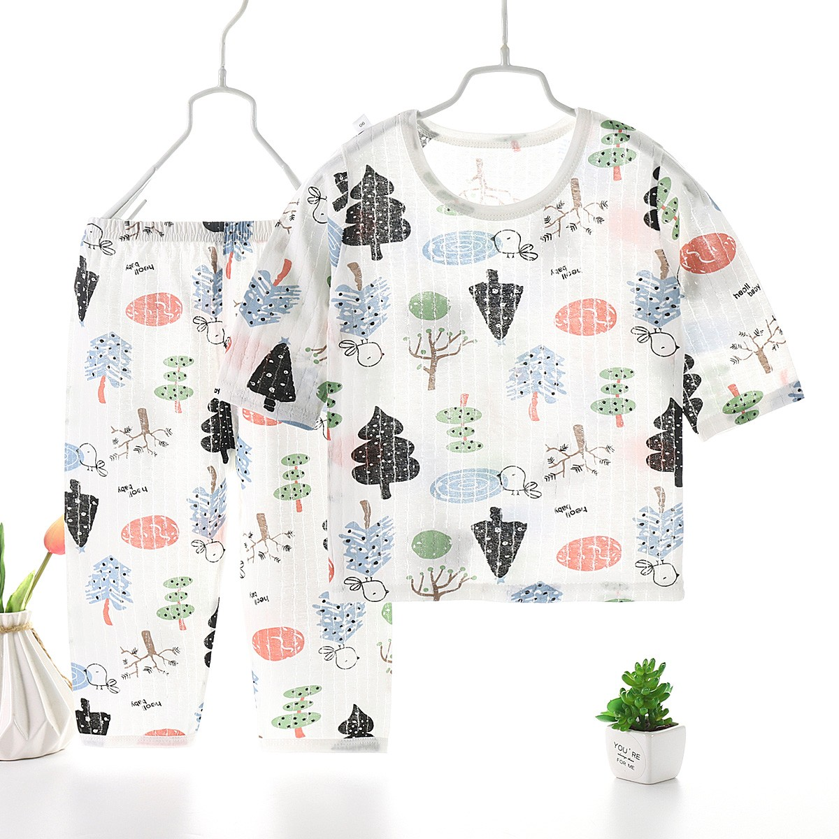 product-Ruiteng-2021 Fashion New Summer Children′s Air Conditioning Pajamas Set Thin Cartoon baby Co