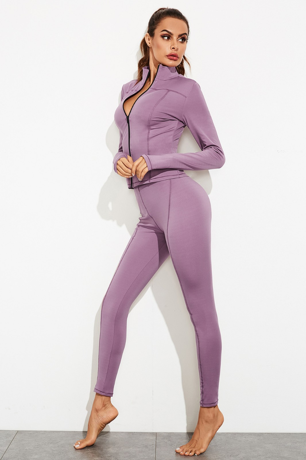 product-Gym Fitness Clothing Women Tight Long Sleeves Women Suit Sport Wear yoga with Zipper-Ruiteng