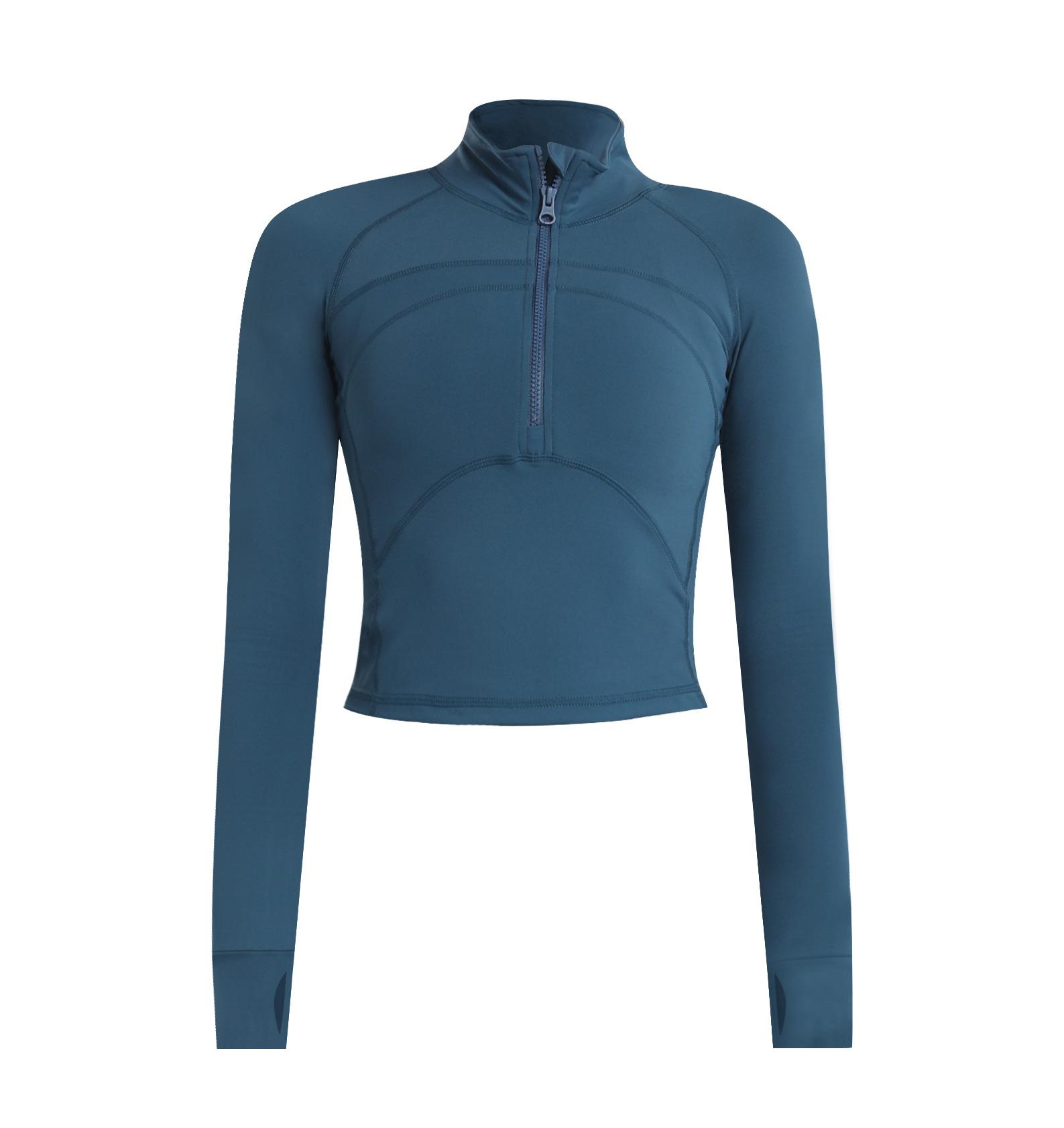product-Half Zipper Yoga Suit Tight Stretch Quick Dry T-shirt Yoga Sport Crop Top Long Sleeve Women-