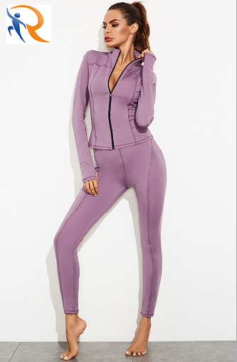 Gym Fitness Clothing Women Tight Long Sleeves Women Suit Sport Wear yoga with Zipper