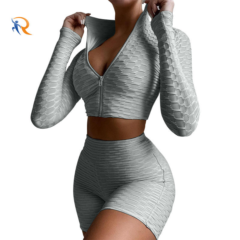 Women Sportswear Active Fitness Suit Workout Sport Wear Gym Clothing Short Long Sleeve Crop Top Seamless Yoga Set