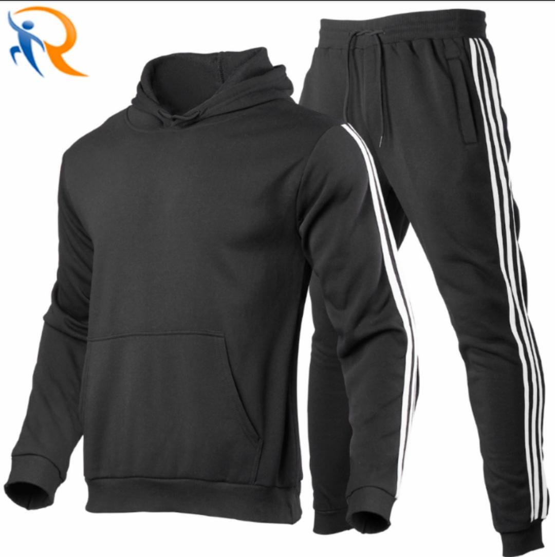 Whloesale Men Gym Suit Sport Tops Two Pieces Set Hoodie Workout Fitness Wear