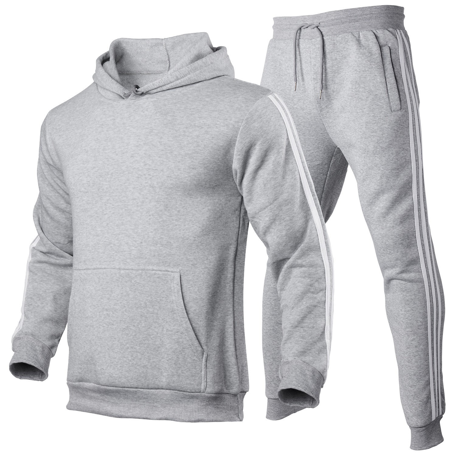 product-Whloesale Men Gym Suit Sport Tops Two Pieces Set Hoodie Workout Fitness Wear-Ruiteng-img