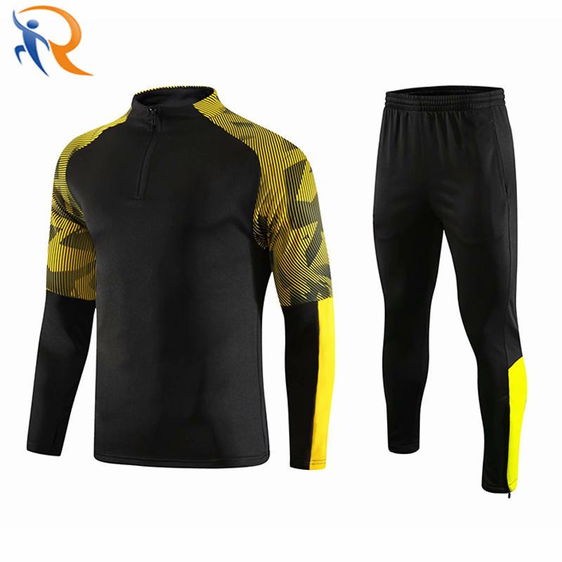 New Design Mens Track Suits 2021 Sport Football Tracksuit Black Soccer Tracksuit