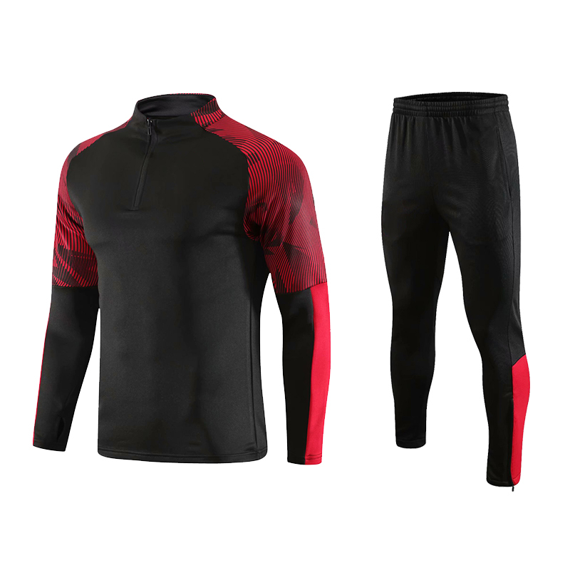 product-Ruiteng-New Design Mens Track Suits 2021 Sport Football Tracksuit Black Soccer Tracksuit-img