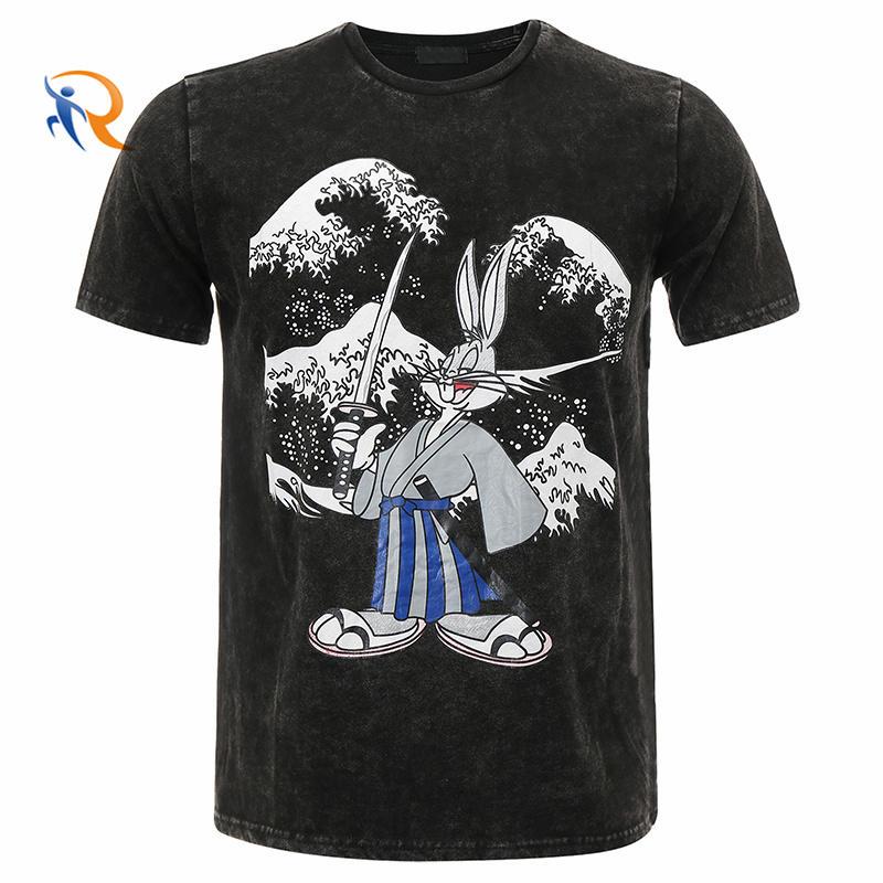 Hot Sale Printed Stone Washed Snow Washed 100% Pima Cotton Men T-Shirt Customize Logo Tshirts