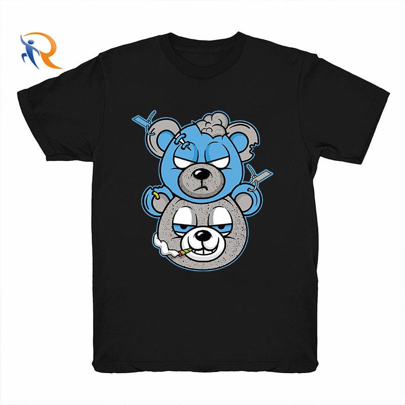 Wholesale Money Teddy Bear Streetwear Men Tshirt Summer Custom O Neck Tshirt Men 100% Cotton Oversized Man T-Shirt