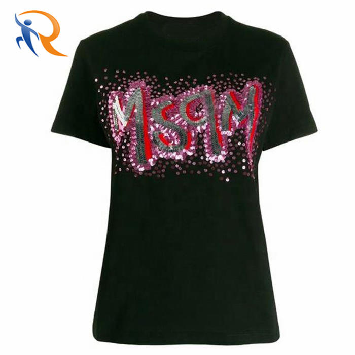 Custom Logo Women t shirt with Sequins Embroidered T-shirt