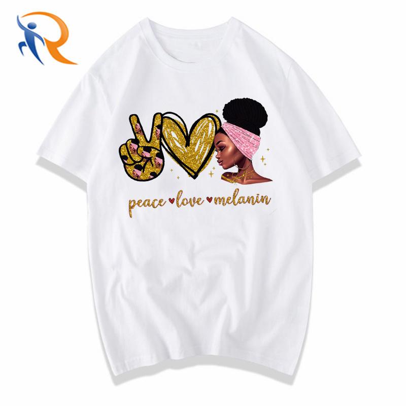 Peace love Melanin BLM Queen with Puerto Rico Flag wrap Aesthetic Women T Shirt
