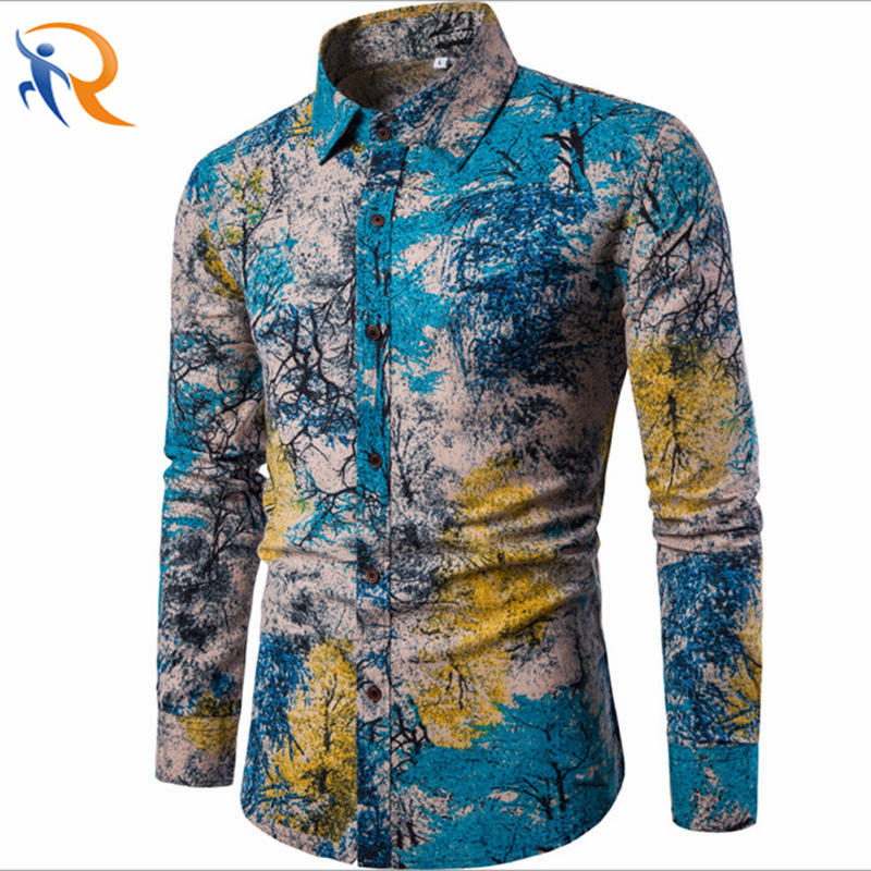 New Ethnic Style Floral Men′ S Casual Large Size Long-Sleeved Shirt Fashion Multicolor Slim Blusas De Fiesta Men′ S Solid Shirts