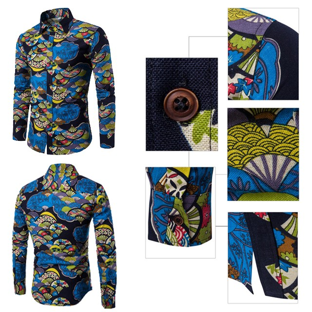 product-Ruiteng-New Ethnic Style Floral Men′ S Casual Large Size Long-Sleeved Shirt Fashion Multicol
