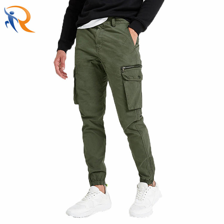 OEM 100% Cotton Slim Fit Khaki Cargo Pockets Men Cargo Jogger Pants