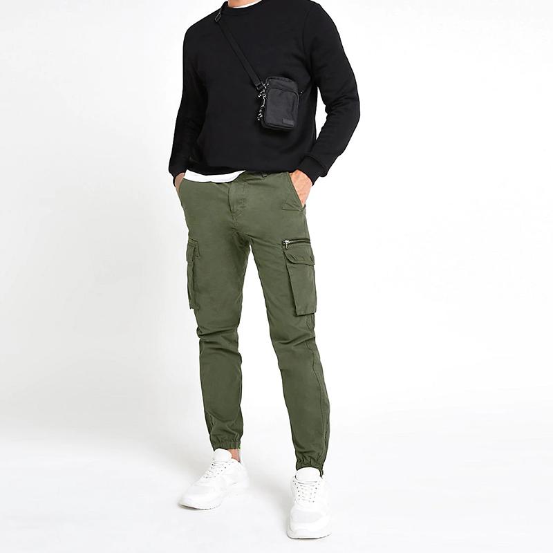 product-OEM 100 Cotton Slim Fit Khaki Cargo Pockets Men Cargo Jogger Pants-Ruiteng-img