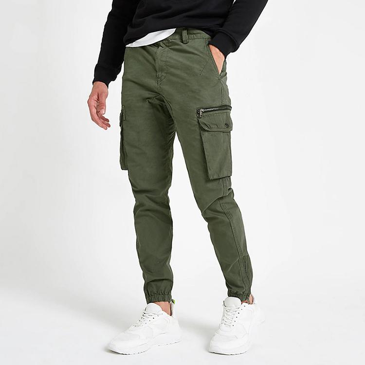 product-Ruiteng-OEM 100 Cotton Slim Fit Khaki Cargo Pockets Men Cargo Jogger Pants-img
