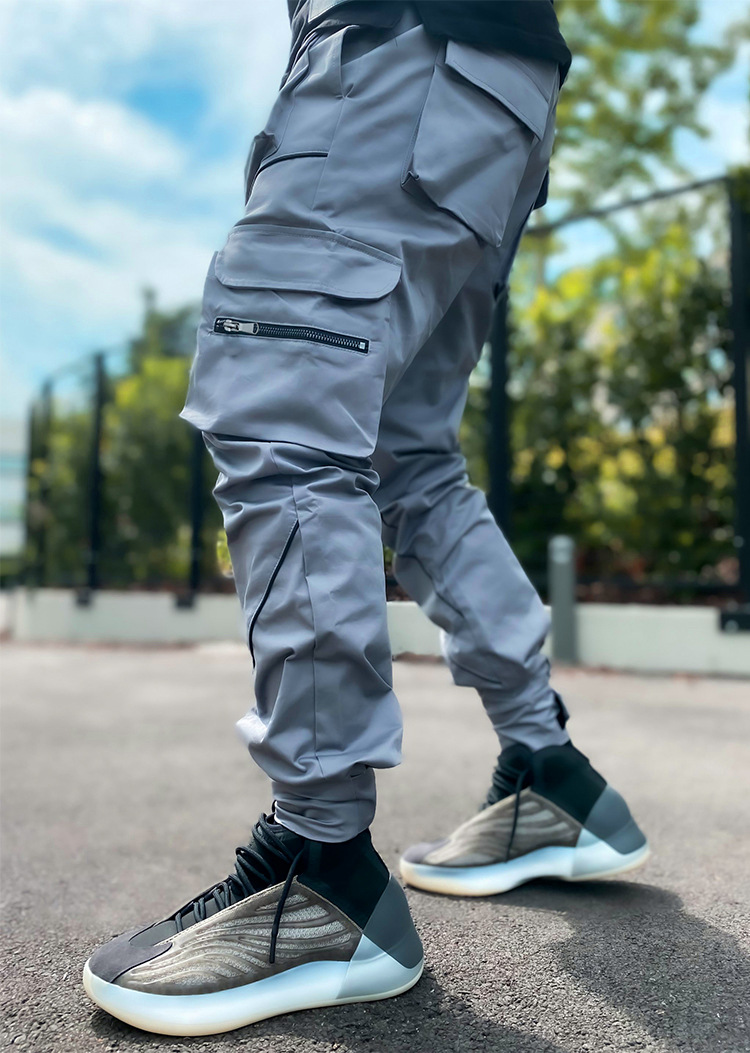 product-Rummandy New Design Men Multi-Pocket Harem Hip Pop Pants Trousers Reflective Streetwear Swea