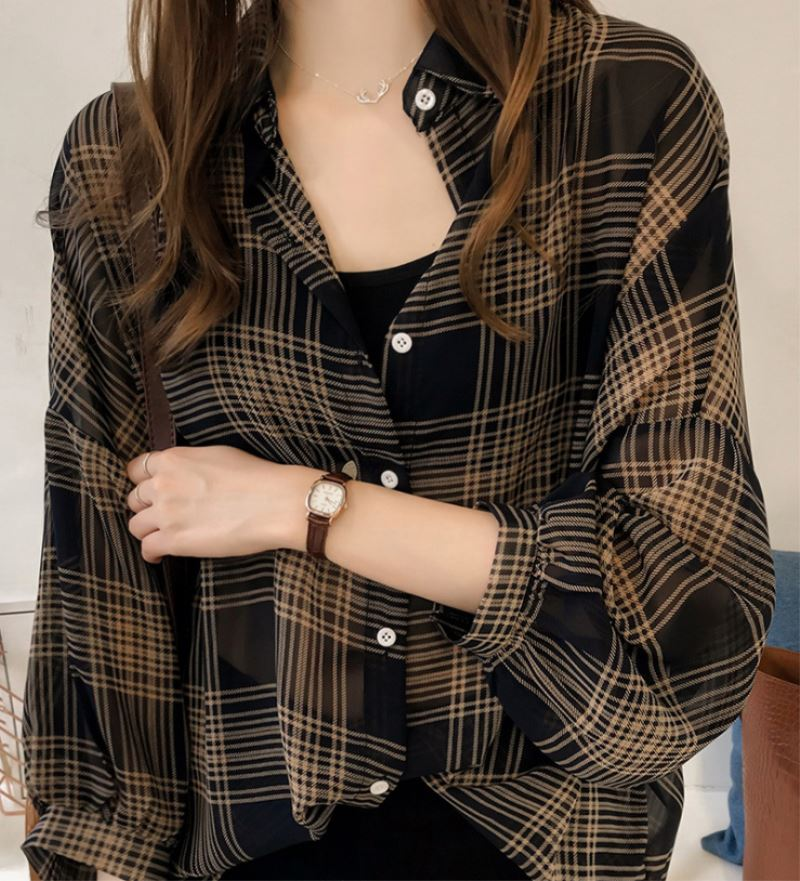 product-New Fashion Women Girls Loose Plaid Print Irregular Hem Long Sleeve Lapel Button Casual Shir