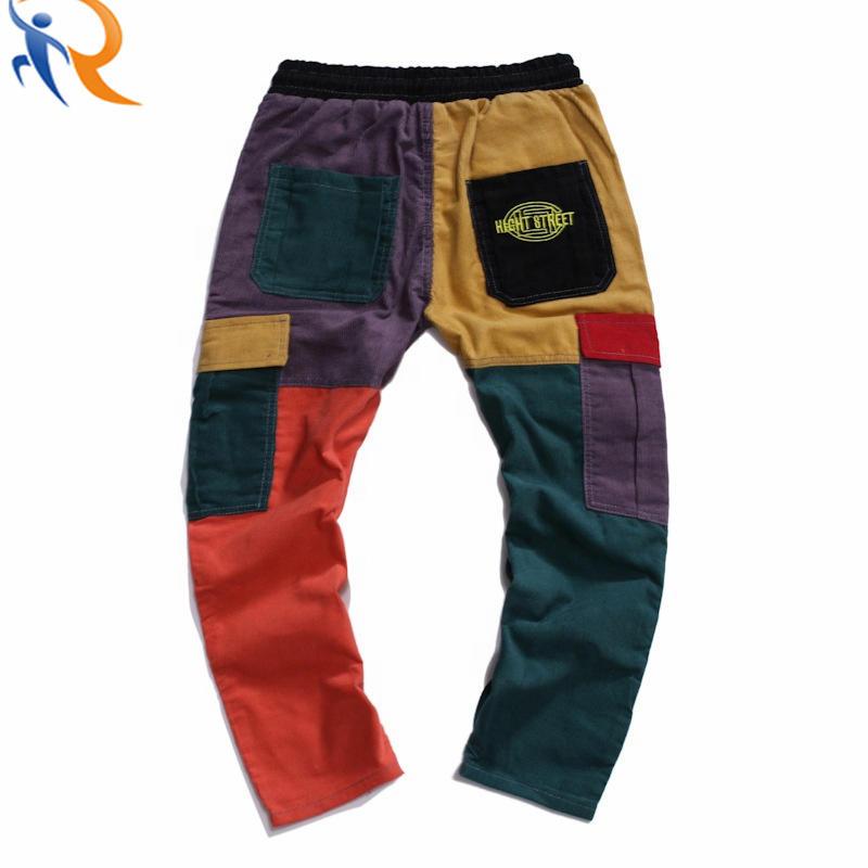 Mens Long Colorblock Corduroy Casual Straight Pants