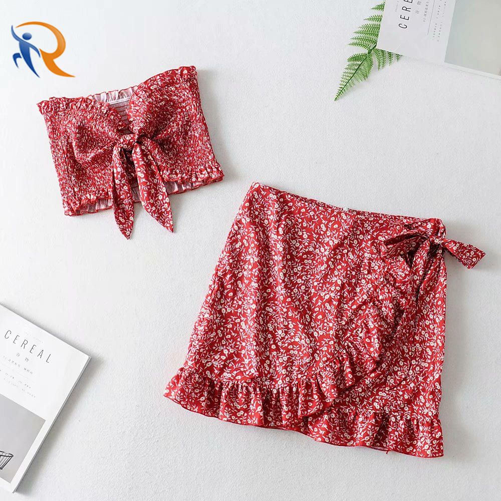 Bust Bow Tie Design Sexy Crop Top Set Women Skirt Suit Fashion Summer Beach Wear