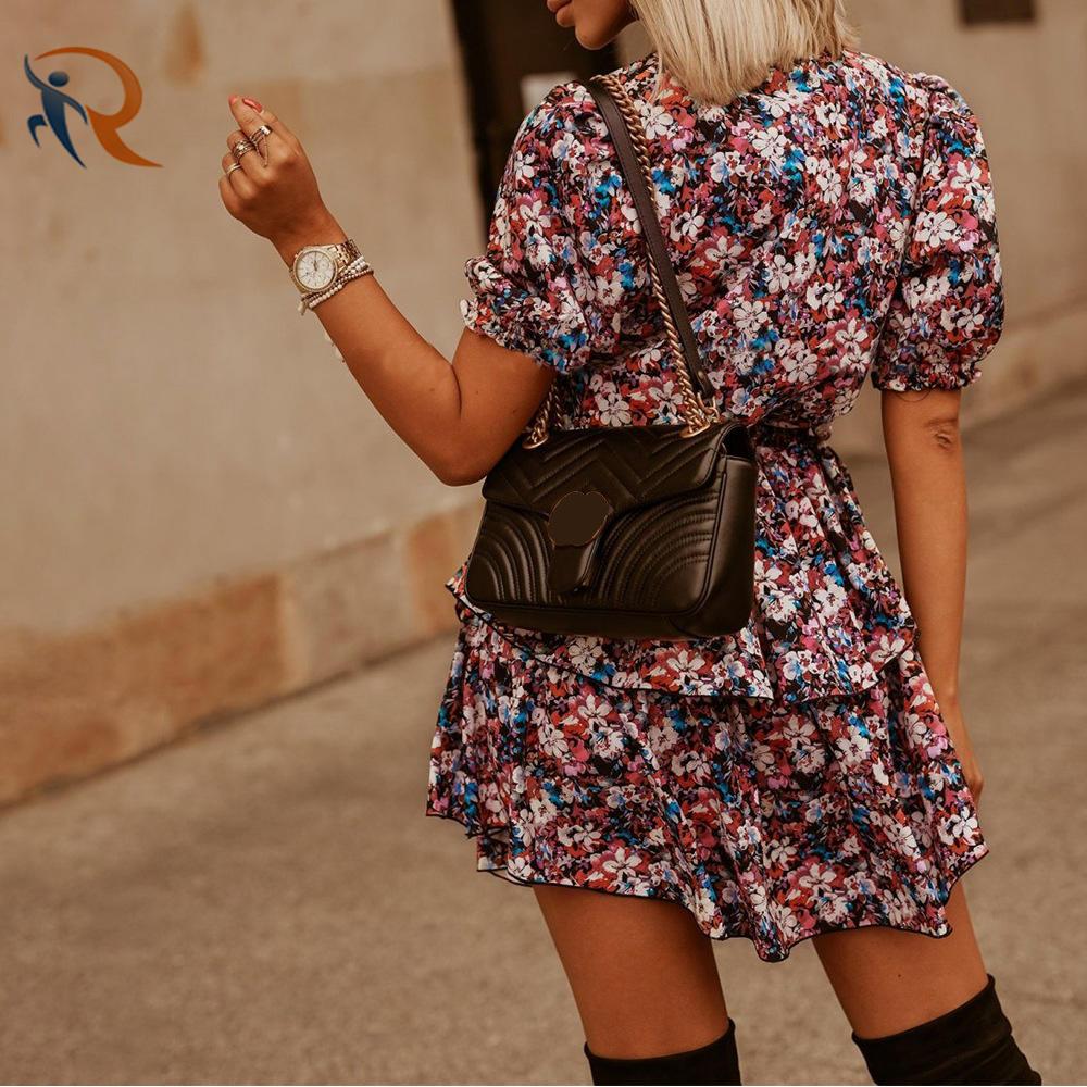 Womens Clothing 2021 Summer Wears Ruffled Floral Print Fashion Dresses