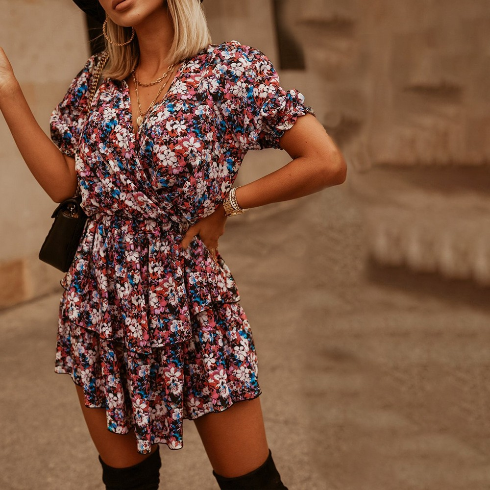 product-Womens Clothing 2021 Summer Wears Ruffled Floral Print Fashion Dresses-Ruiteng-img