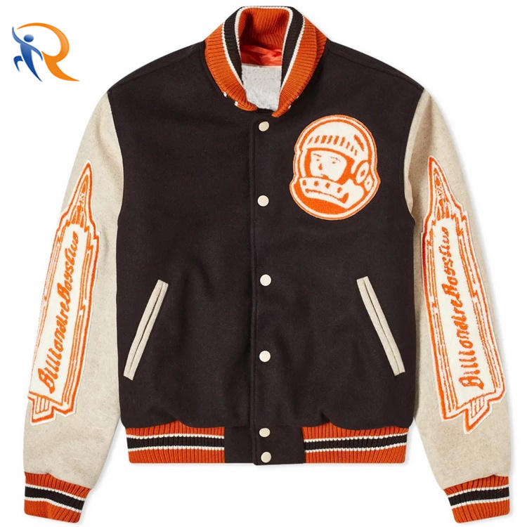 Custom Double Color Patchwork Patch Embroidered College Bomber Flight Varsity Jacket for Men