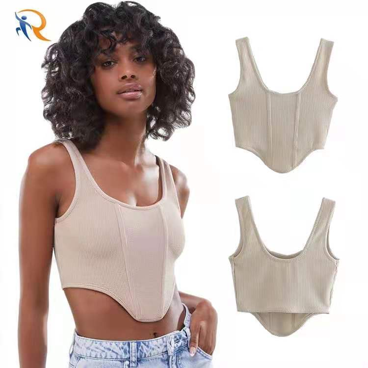 2021 Summer Custom Breathable Women Knit Ribbed Vest Y2k Sexy Slim Fitness Basic Sleeveless Corset Camisole Crop Tank Top