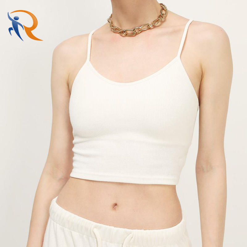 2021 Fashion Casual Cheap Hot Girl Crop Top Solid Color Cross Strappy Women Slim Shirt Tight Rib Knit Vest Girls