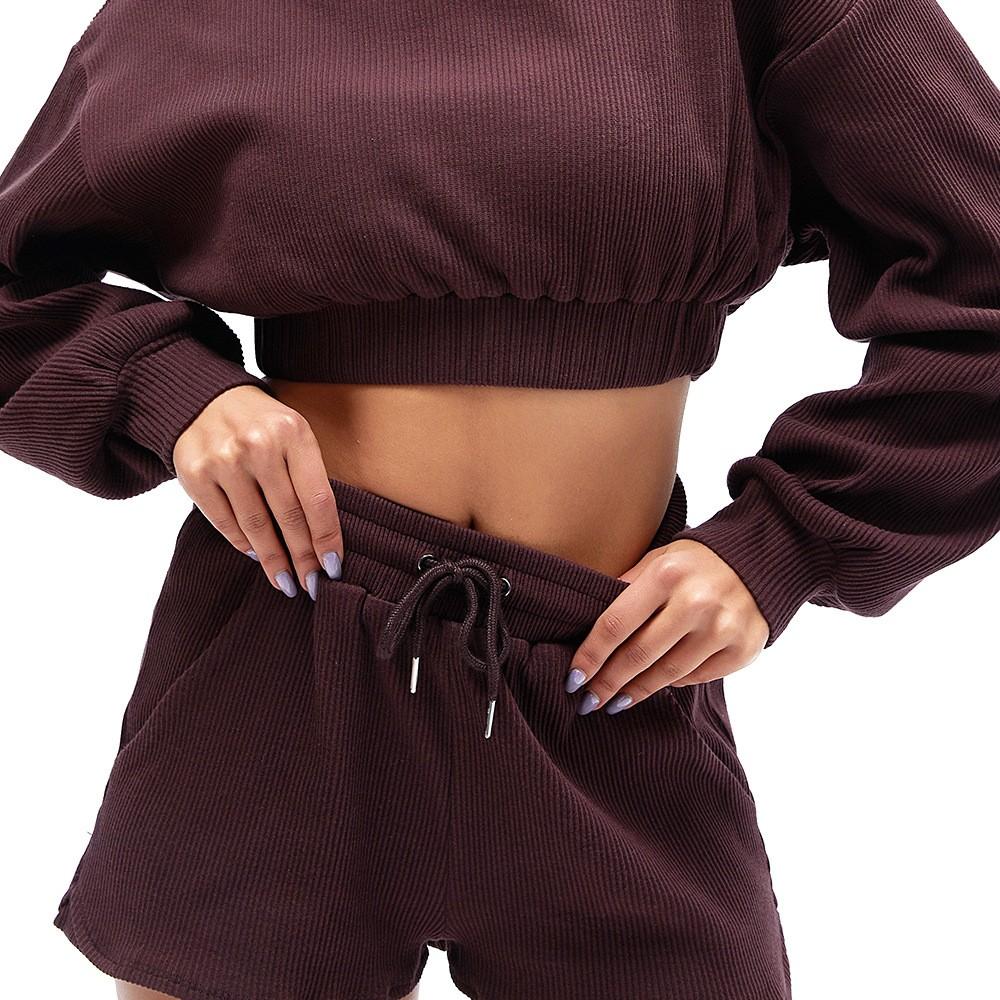 product-Good Quality Hoodie Shorts 2 Piece Sets Women Long Sleeve Short Set-Ruiteng-img