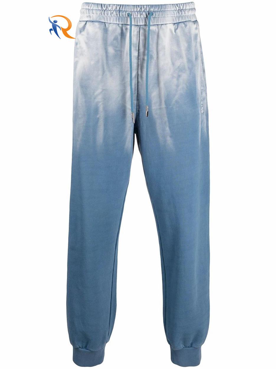 Men Custom Sky Blue Tie-dye Color Trousers Custom Color Dyed Sports Pants